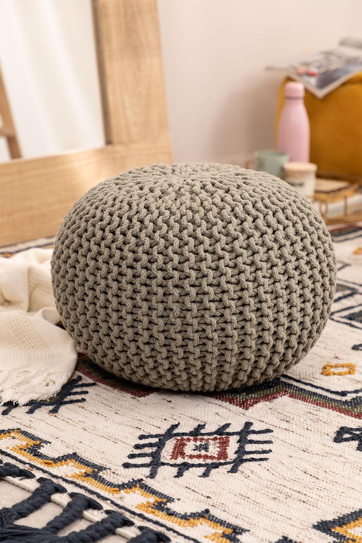 Pouf ronde tricotée grise, image de la galerie 1
