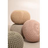 Pouf ronde tricotée grise, image miniature 6