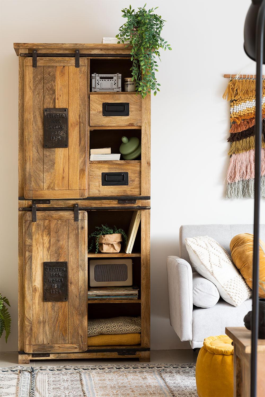 Armoire à 2 portes coulissantes en bois Uain, image de la galerie 1