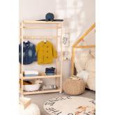 Porte-manteau en bois Roket avec roues et étagère à chaussures Kids, image miniature 1