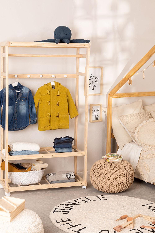 Porte-manteau en bois Roket avec roues et étagère à chaussures Kids, image de la galerie 1
