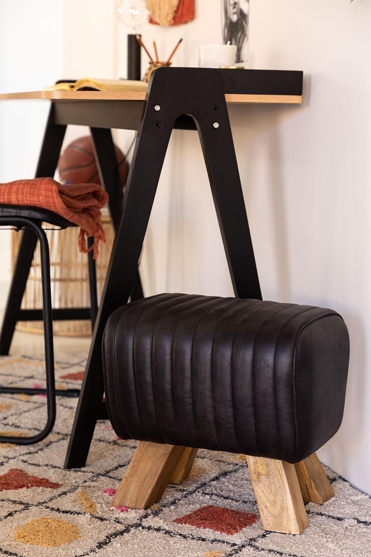Tabouret bas en cuir Finda, image de la galerie 1