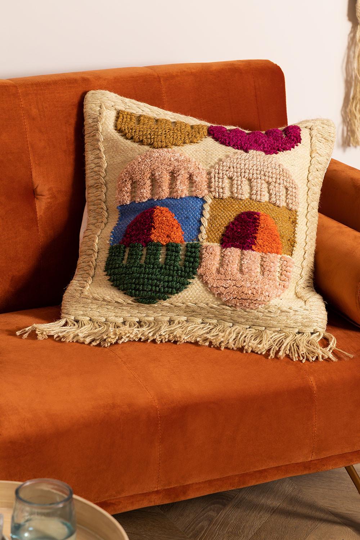 Housse de coussin en coton et jute Tauja, image de la galerie 1