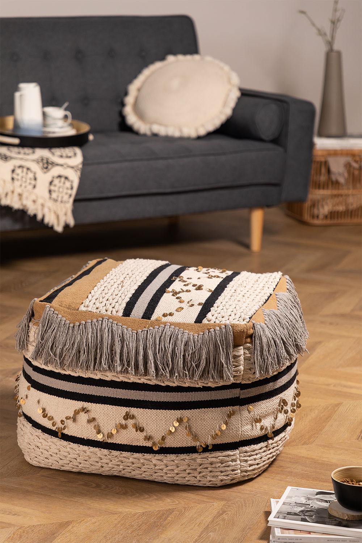 Pouf carrée en coton Kajun, image de la galerie 1