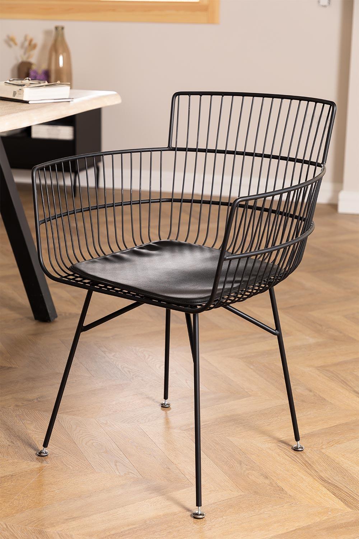 Chaise en métal avec accoudoirs carrés, image de la galerie 1