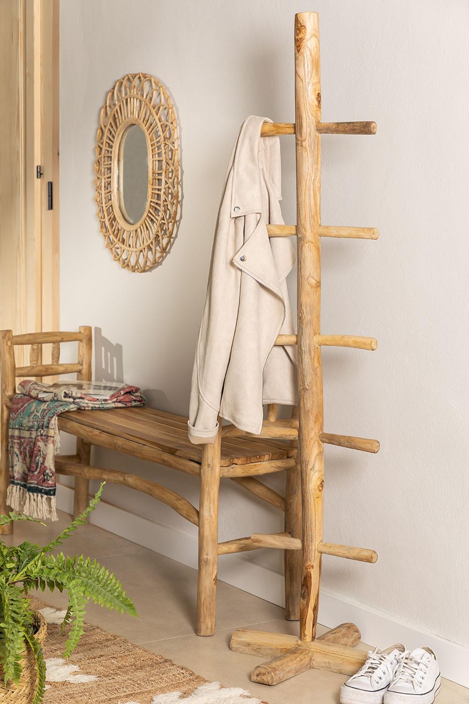 Porte-manteau en bois de teck Narel, image de la galerie 1