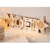 Panneau en bois de Noel avec lumières LED, image miniature 1