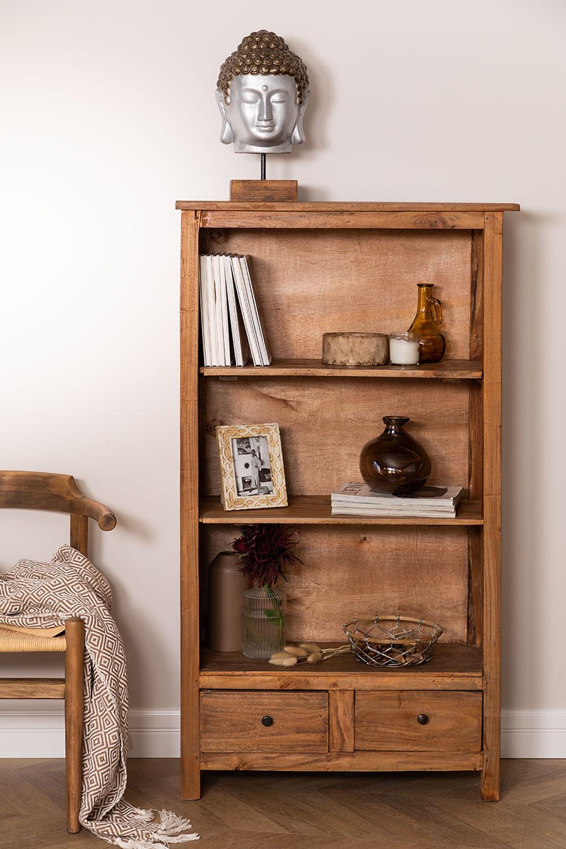 Lot de 2 bibliothèques en bois recyclé Jara, image de la galerie 1