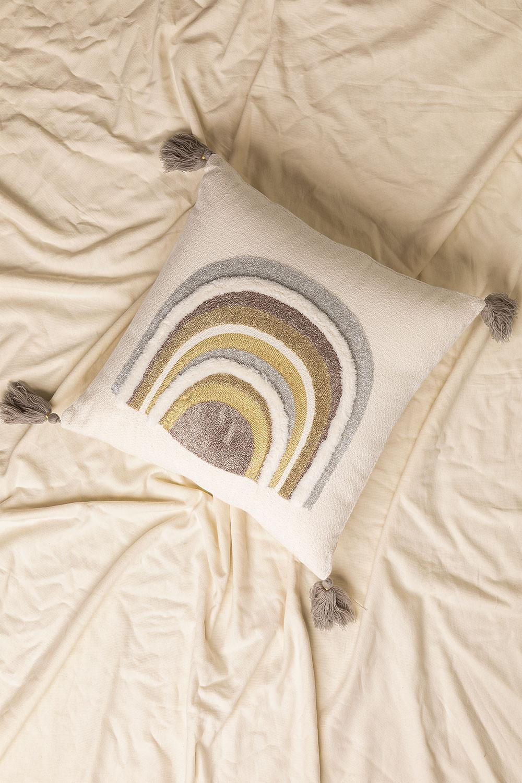 Coussin avec broderie en coton (45x45 cm) Cova, image de la galerie 1