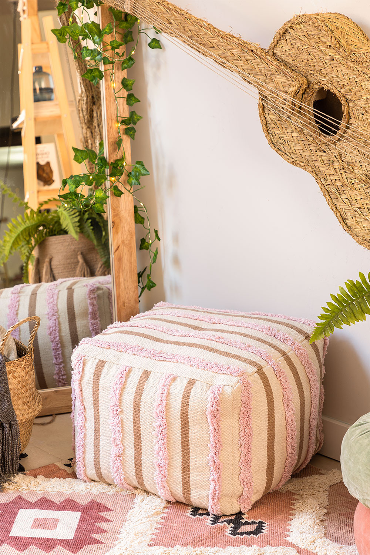 Pouf carrée en coton Yampi, image de la galerie 1