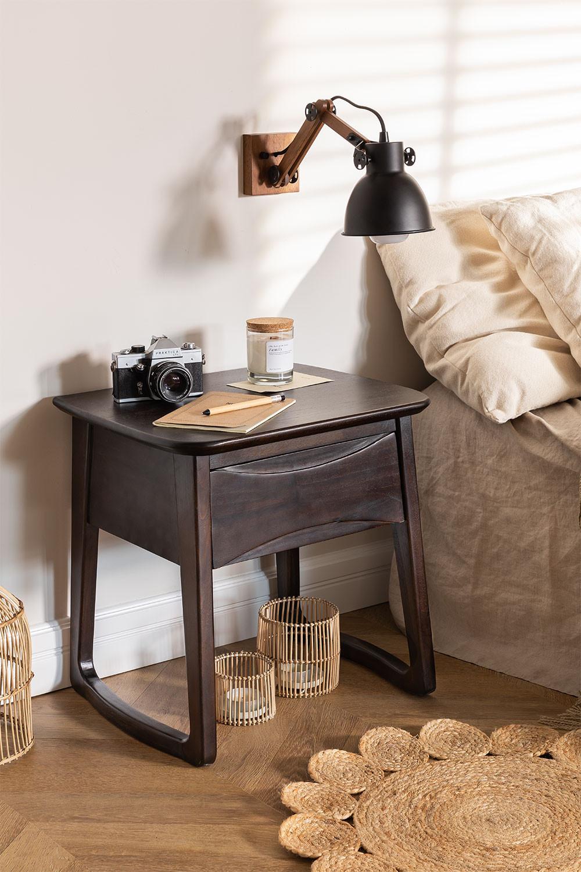 Table de chevet en bois de teck Somy, image de la galerie 1