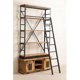 Bibliothèque en bois recyclé avec échelle Uain, image miniature 2