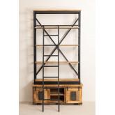 Bibliothèque en bois recyclé avec échelle Uain, image miniature 4