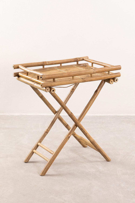 Table d'appoint pliante Wallis avec plateau en bambou, image de la galerie 1