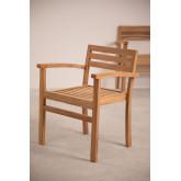 Chaise de jardin avec accoudoirs en bois de teck Pira, image miniature 4