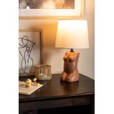 Lampe de table en polyéthylène et tissu Kazi, image miniature 2