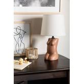 Lampe de table en polyéthylène et tissu Kazi, image miniature 1