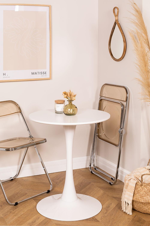 Table à manger ronde en MDF et métal de style Tuhl, image de la galerie 1