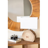 Lampe de table en bois et tissu Abura, image miniature 1