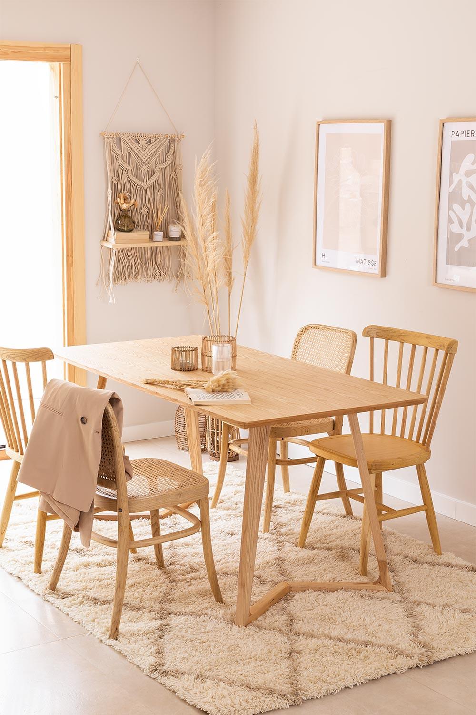 Table à manger rectangulaire en bois de frêne (160x80 cm) Keira, image de la galerie 1