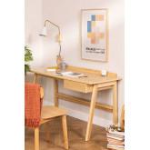 Bureau en bois de frêne Amde avec tiroir, image miniature 1