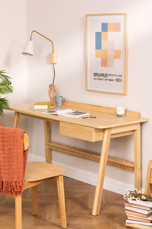 Bureau en bois de frêne Amde avec tiroir, image de la galerie 1
