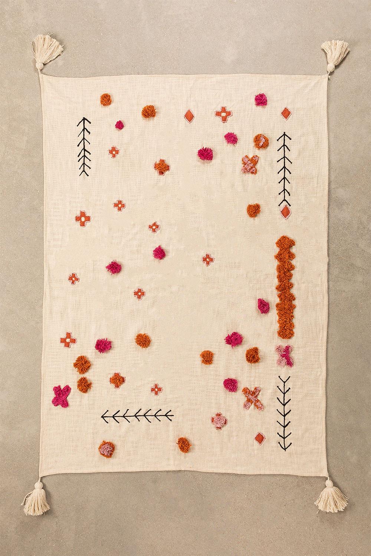 Couverture à carreaux en coton à pompon, image de la galerie 1