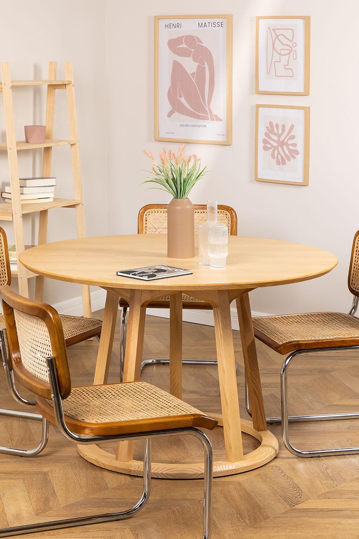 Table à manger ronde en bois (Ø120 cm) Celest, image de la galerie 1