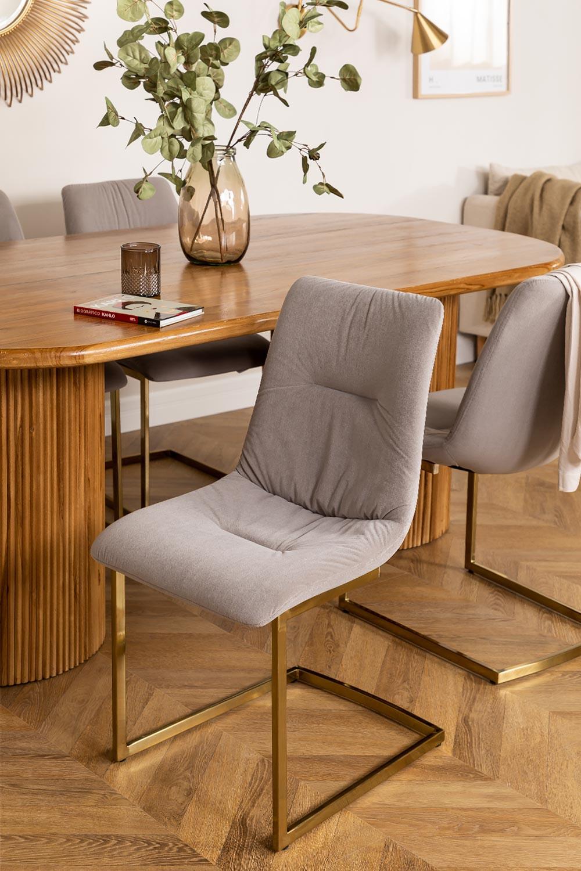 Chaise de salle à manger rembourrée en velours Dubhar, image de la galerie 1