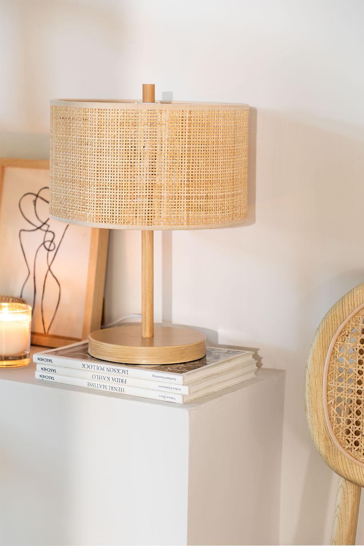 Lampe de table en rotin et métal Bizay, image de la galerie 1