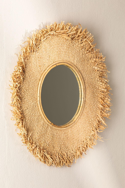 Miroir mural rond en raphia (Ø55 cm) Deani, image de la galerie 1