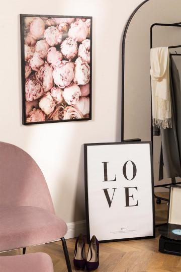 Lot de 2 tableaux décoratifs (50x70 cm) Rose Love