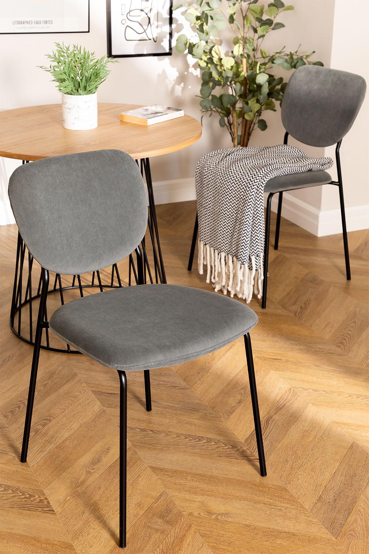 Chaise de salle à manger rembourrée en velours Taris, image de la galerie 1