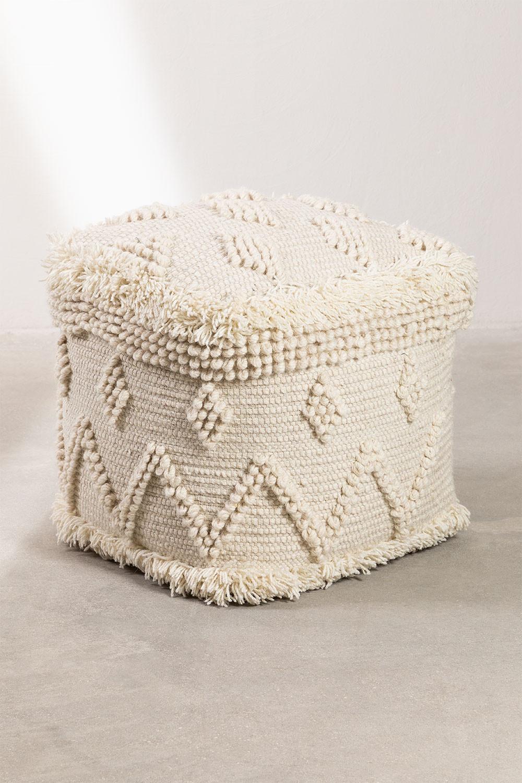 Pouf carrée en laine Drutt, image de la galerie 1