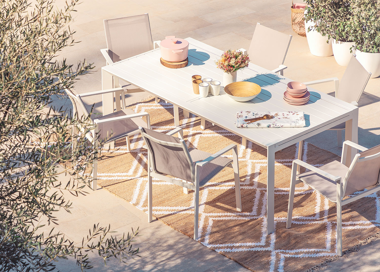 Set de table extensible Starmi (180-240 cm) et 6 chaises de jardin Eika, image de la galerie 1