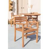 Chaise de jardin avec accoudoirs en bois de teck Pira, image miniature 1
