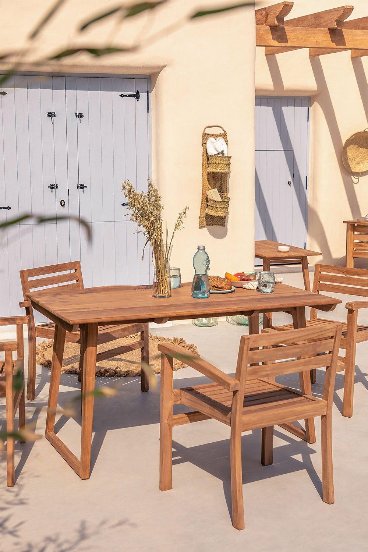 Table de jardin rectangulaire en bois de teck (140x80 cm) Sushan , image de la galerie 1