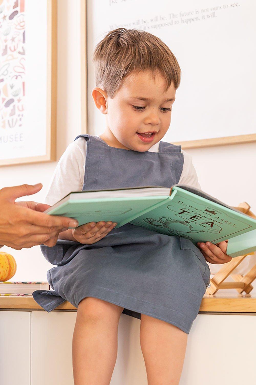 Tablier en lin et coton Violet Kids, image de la galerie 1