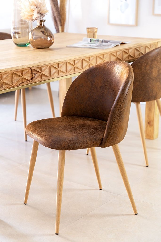 Chaise de salle à manger rembourrée en similicuir Kana, image de la galerie 1