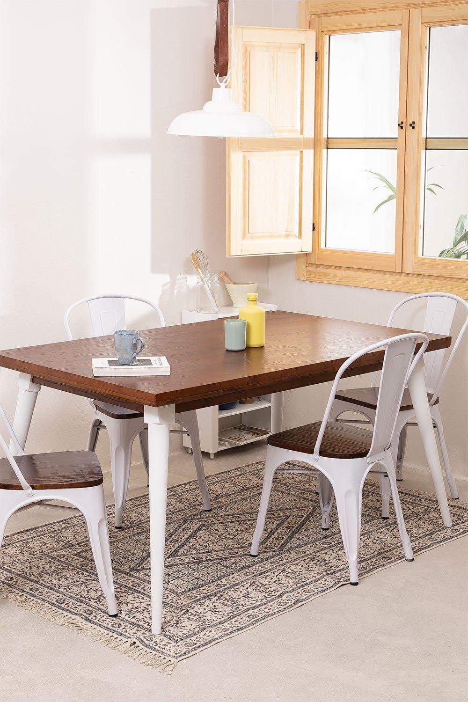 Table à manger rectangulaire en bois (145x90 cm) Nuats, image de la galerie 1