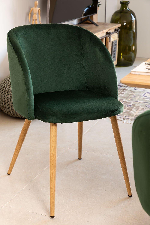 Pack de 4 Chaises de salle à manger avec accoudoirs en Velours Kana, image de la galerie 1