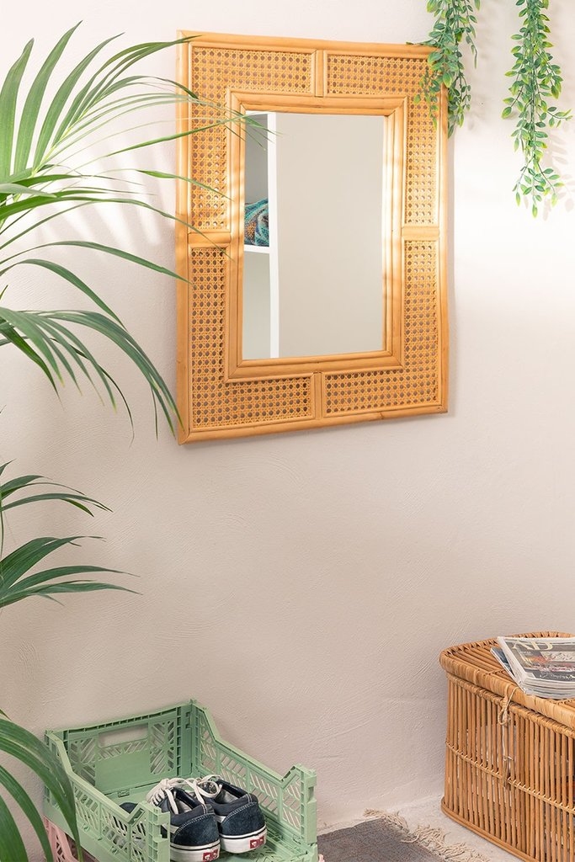 Miroir mural rectangulaire en rotin (75x61 cm) Masit , image de la galerie 1