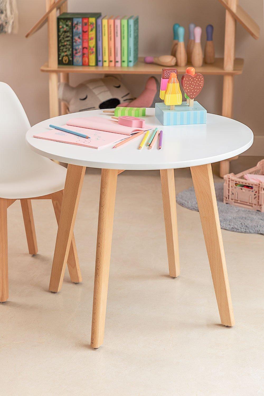 Table ronde en bois de hêtre et MDF (Ø60 cm) Nordic Kids , image de la galerie 1