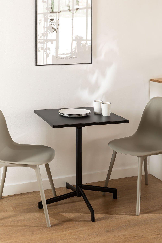 Table de bar pliante et transformable en 2 hauteurs en acier (60x60 cm) Dely , image de la galerie 1