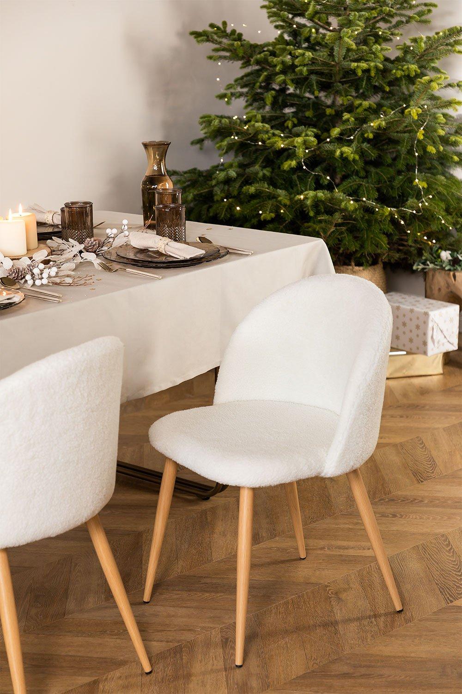 Chaise de salle à manger rembourrée en tissu Kana, image de la galerie 1
