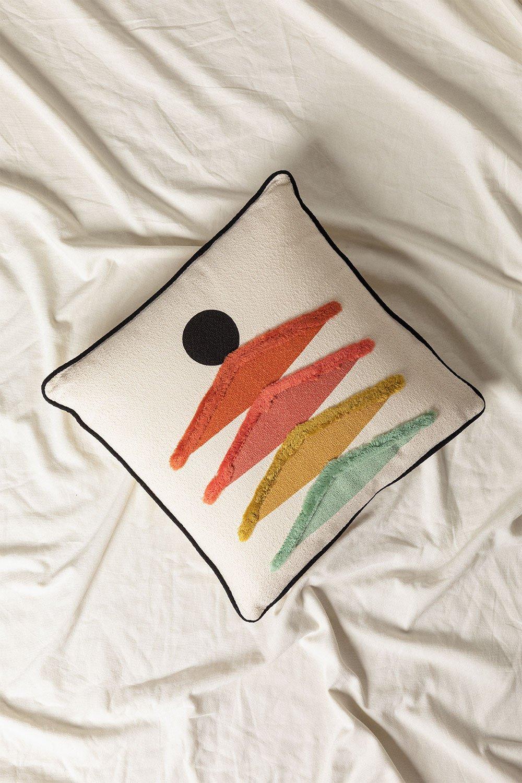 Coussin avec broderie en coton (45x45 cm) Falbus, image de la galerie 1