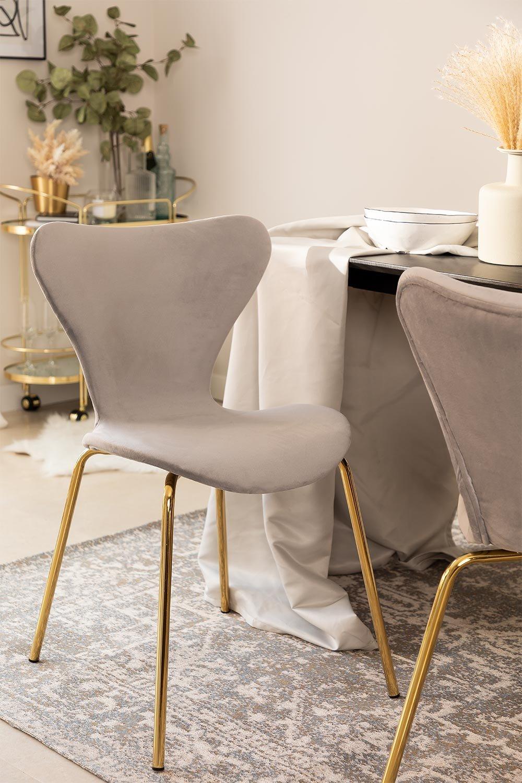 Chaise de salle à manger en velours Uit, image de la galerie 1