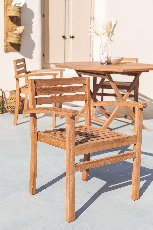 Chaise de jardin avec accoudoirs en bois de teck Pira, image de la galerie 1