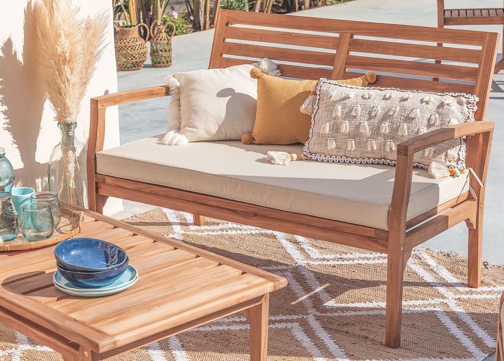 Canapé de jardin 2 places en bois de teck Adira, image de la galerie 1