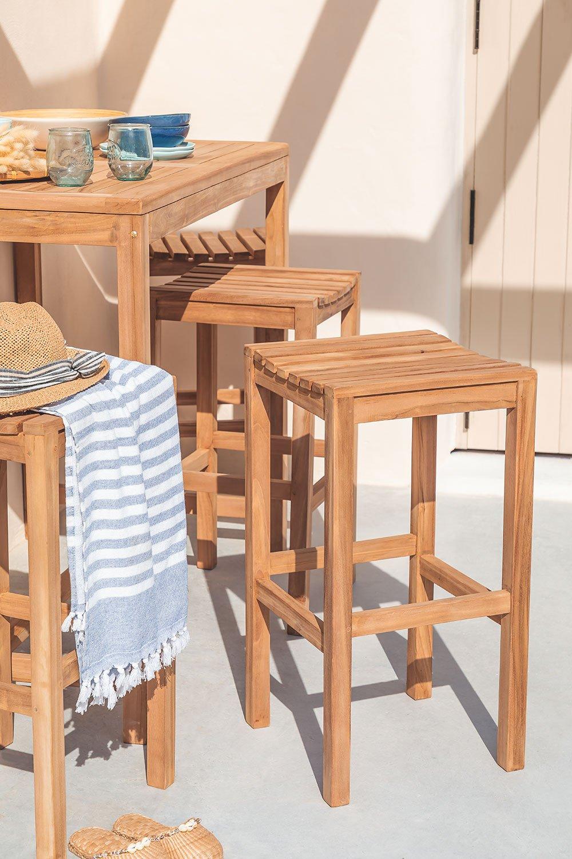 Tabouret haut en bois de teck Pira, image de la galerie 1
